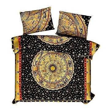 Marusthali Indian Psychedelic Horoscope Mandala Comforter Double Bedding Throw Indian Reversible Double Dohar Blanket AC Quilt