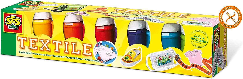 Ses- Juego de Seis Pinturas para Tela para niños (6 Colores), 6 x ± 45 ml (00331)