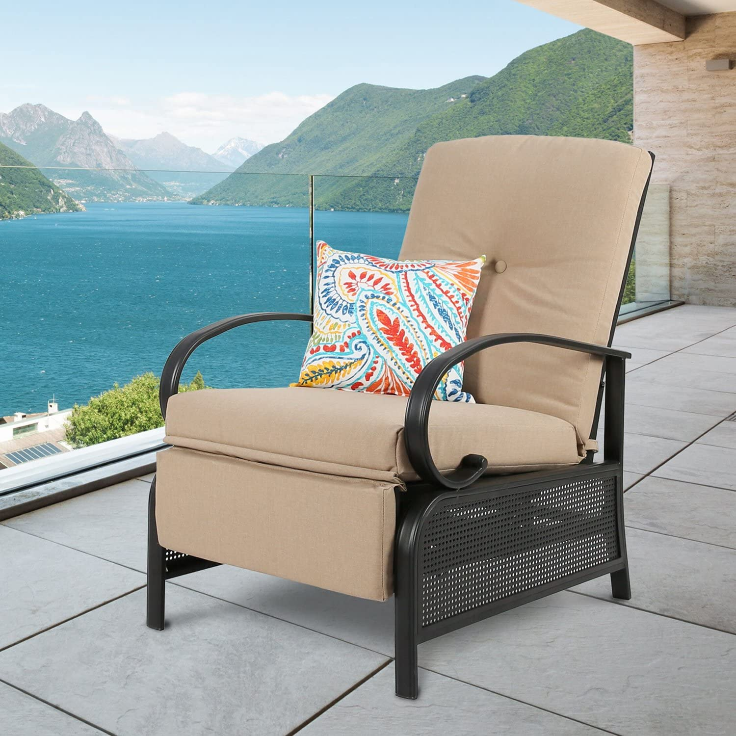 Ulax Furniture Patio Recliner Chair Automatic Adjustable Back Outdoor Lounge Chair with 100% Olefin Cushion (Beige)