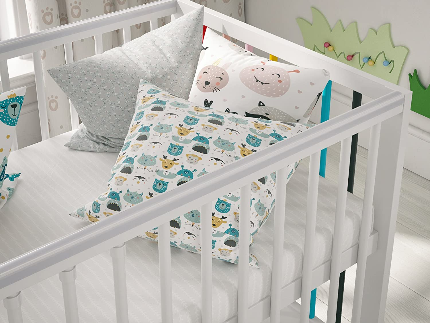 """White Classic Pine Wood Baby Cot Ala II with 4/"""" Foam Mattress and Drawer 120x60"""