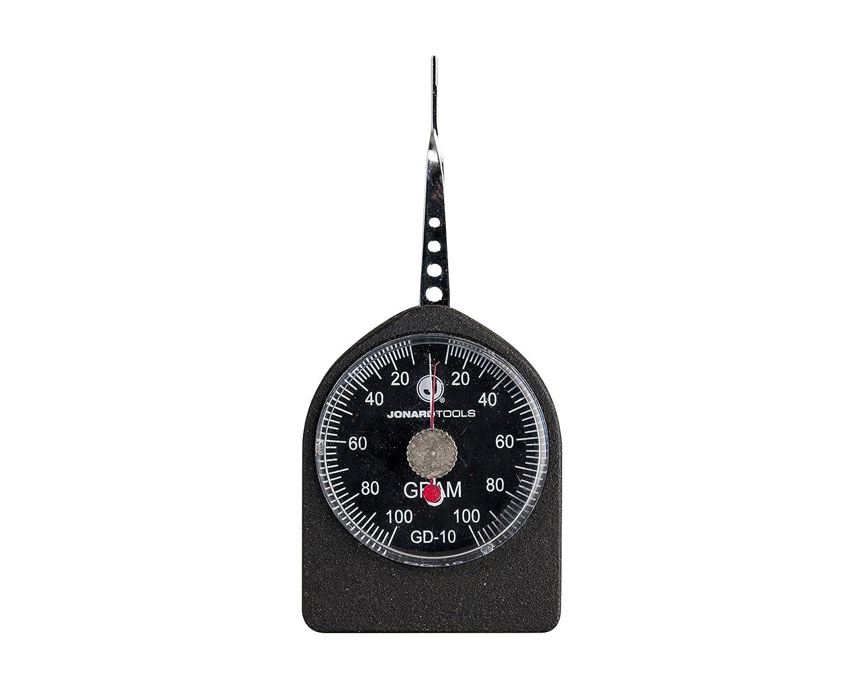 Jonard GD-5 Flat Tip Small Force Gauge 5-50 grams Dial Display +//- 0.01 Accuracy 1 grams Graduation