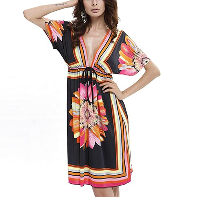 0563fdd95932a OCTOPUSIR Ladies Beach Wraps and Cover ups 2018 Women s V-Neck Bohemia  Beach Dress Short Sleeves Boho Swimwear for Holiday Beachwear Bikini  Bathing Suit