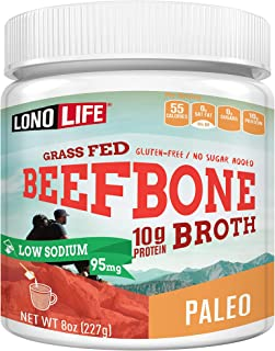 product image for LonoLife Low-Sodium Grass-Fed Beef Bone Broth Powder with 10g Protein, Paleo and Keto Friendly, 8-Ounce Bulk Container