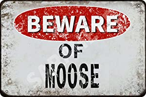 Beware of Moose Vintage Metal Tin Sign Retro Funny Tin Sign for Wall Decor—8