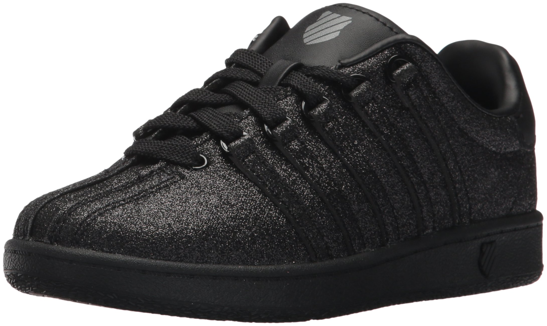 K-Swiss Unisex-Kids Classic VN Sneaker, black/Sparkle, 11.5 M US Little Kid