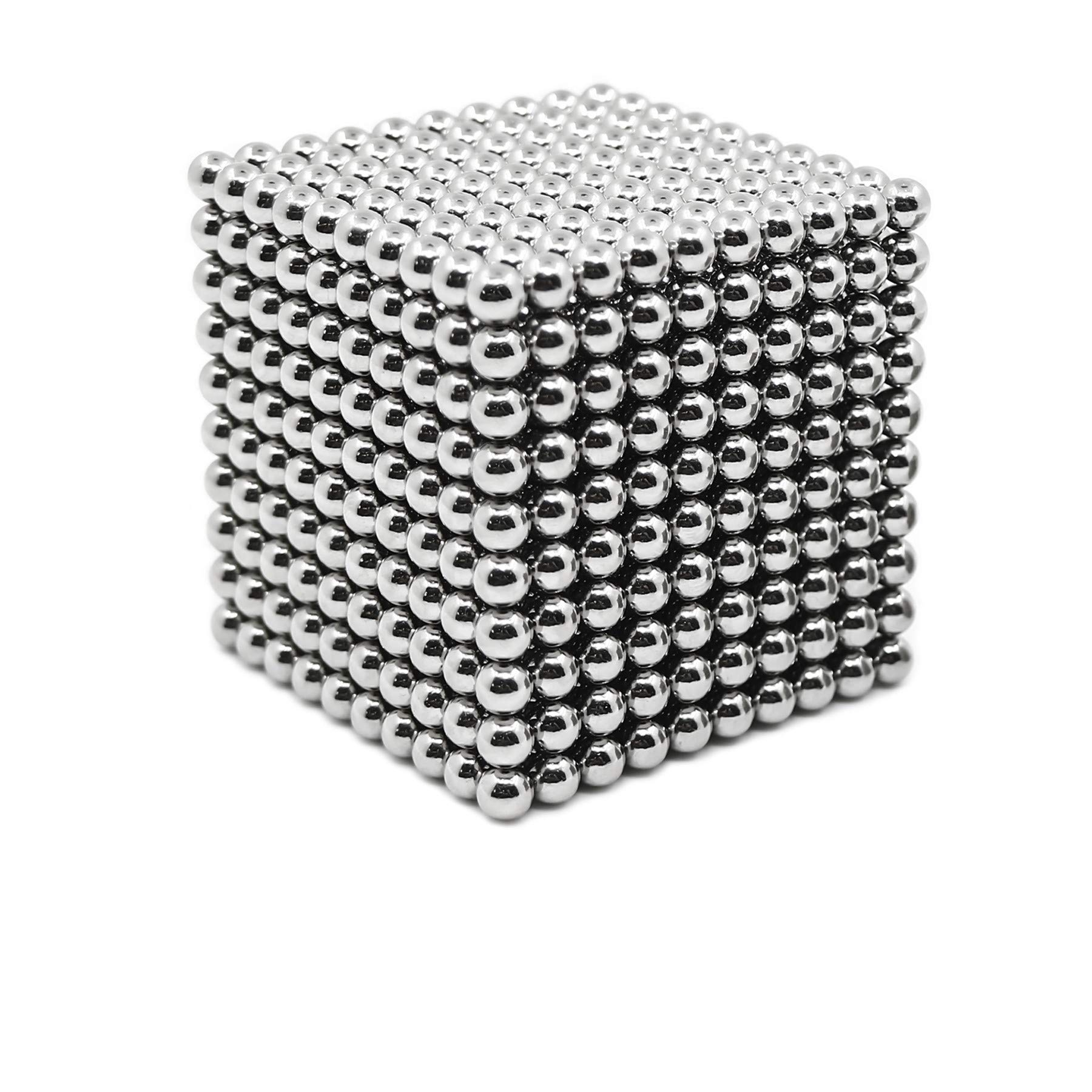 HBDeskToys 1000 Magnetic Balls,3mm Magnetic Toys,3D Magnetic Building Blocks,Stress Relief Adults,Toys for Office (Shiny Silver) by HBDeskToys (Image #1)