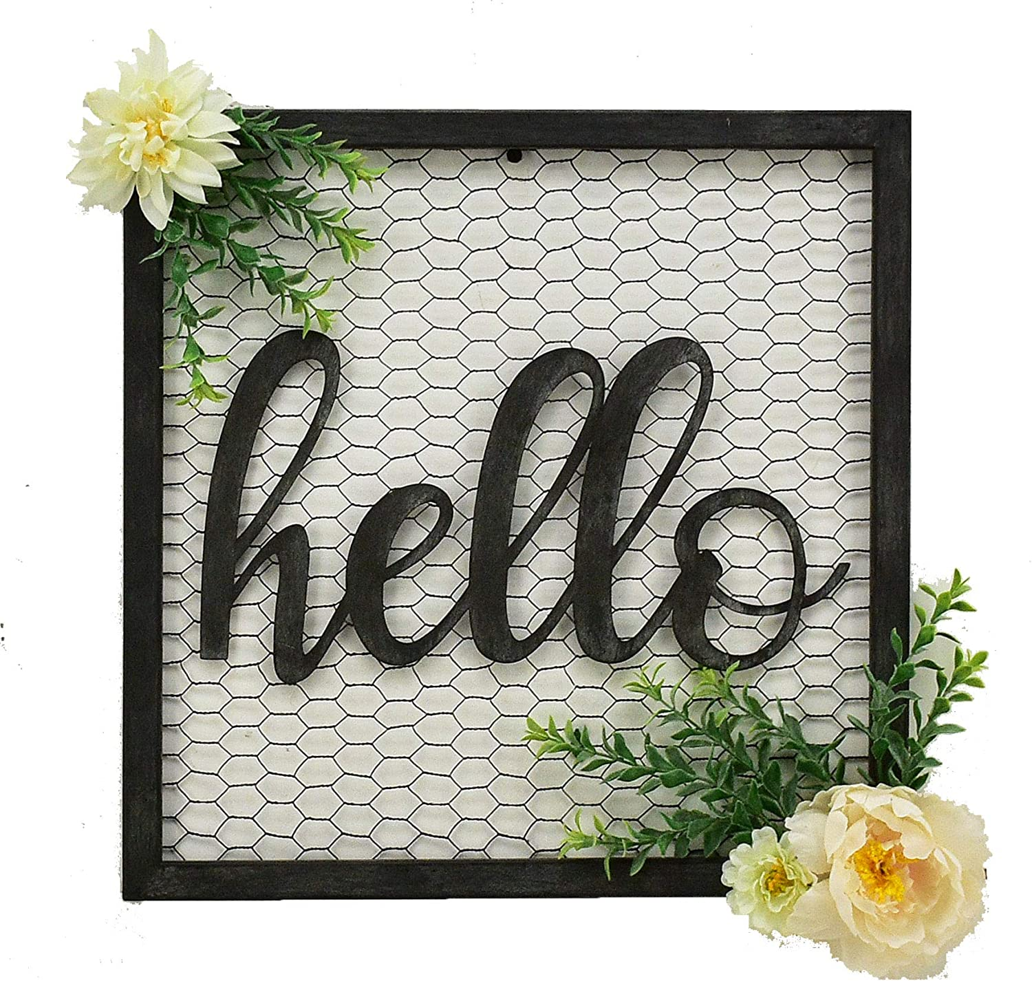 Parisloft Hello Script Metal Sign Decor Wall Art for Gallery Wall or Front Door Entryway Square Metal Wall Hanging Art Sign 15.7 x 15.7 x 1.4 Inches Black