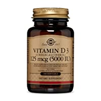 Solgar Vitamin D3 (Cholecalciferol) 125 MCG (5000 IU), 100 Softgels - Helps Maintain...