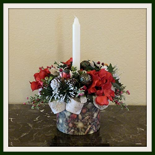 Christmas Table Arrangements Flowers.Amazon Com Christmas Flower Arrangement Handmade Holiday