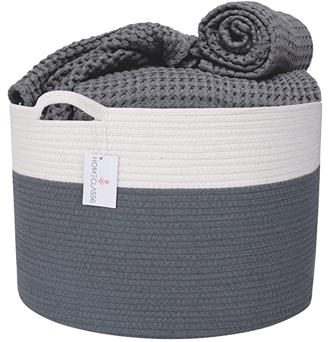 XXL Cotton Rope Basket - 20 x 20 x 13.3 inch Blanket Basket Living Room. Woven Storage Basket for Throws, Toys, Blankets, and Pillows. Laundry Basket with Handles. Graphite.