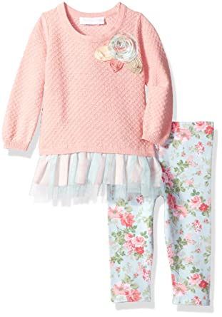 42d094c88 Amazon.com: Bonnie Baby Baby Girls Sweater Dress and Legging Set: Clothing