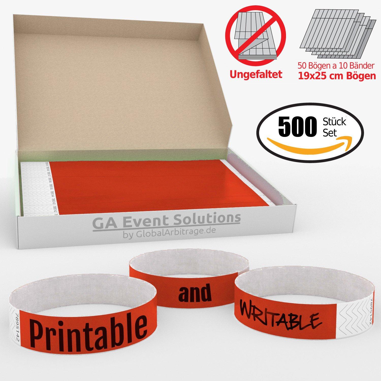 Pulseras Para Eventos GA Event Solution de Tyvek Rojo 500 unidades