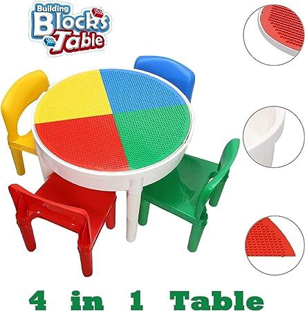 SEIGNEER 4 en 1 Mesa infanti Mesa de Juego Mesa de Bloques mobiliario Infantil Juego de Mesa y sillas: Amazon.es: Hogar