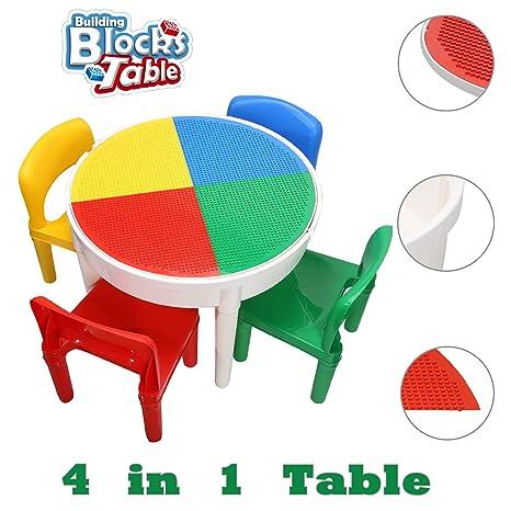 SEIGNEER 4 en 1 Mesa infanti Mesa de Juego Mesa de Bloques mobiliario Infantil Juego de