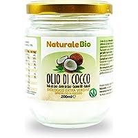 Olio di Cocco Biologico Extra Vergine 200 ml. Crudo e Spremuto a Freddo. Organico e Puro al 100%. Ideale sui Capelli, sul Corpo e ad Uso Alimentare. Olio di Cocco Bio Nativo e non Raffinato