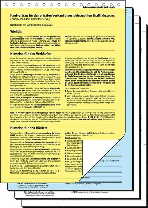 Sigel Kv440 Kaufvertrag Für Gebrauchtes Kfz Adac Vordruck Amazon