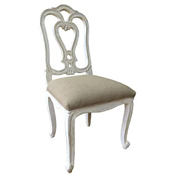 A Beautiful French Style Shabby Chic Dining Chair In White
