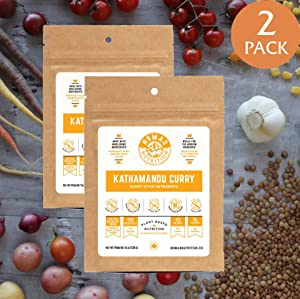 Nomad Nutrition - Kathmandu Curry - Plant Based, Protein Packed, Nutritious dehydrated Meal for Camping, Travel, Adventure on The go (2 oz) (2 Pack)