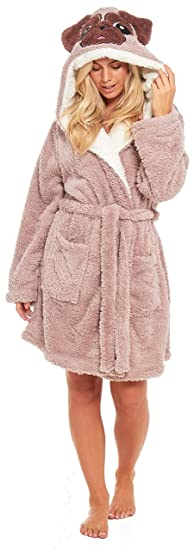 905b56751c Slumber Hut® Pug Dog Fleece Dressing Gown for Ladies - Novelty Animal Face  Hooded Snuggle