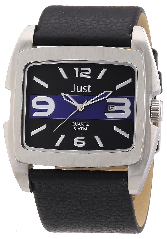 Just Watches 48-S3353-BL - Reloj analógico de cuarzo para hombre, correa de cuero color negro