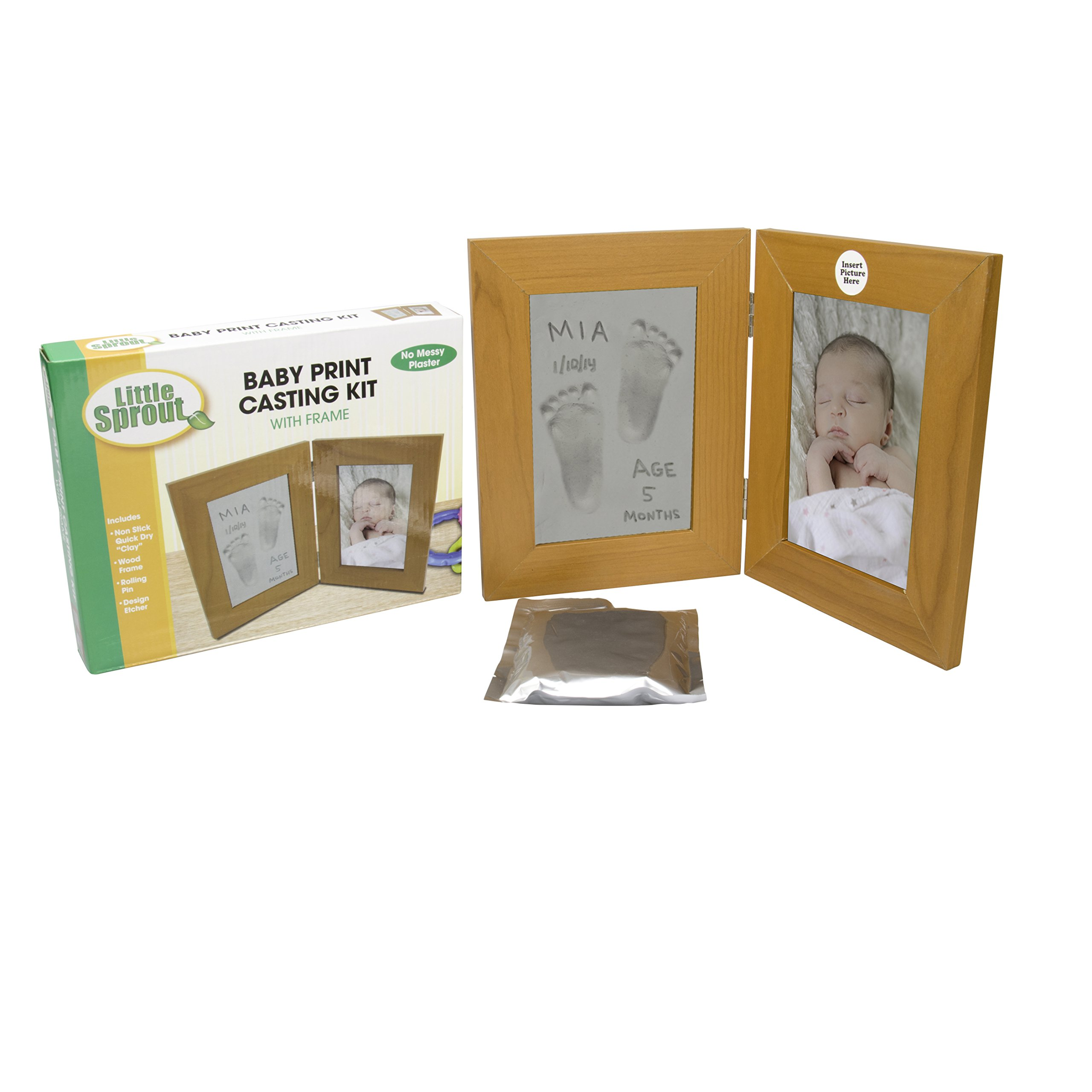 Baby Print Casting Kit - Air Dry No Mess Keepsake Kit with 4'' X 6'' Picture Frame - No Baking Required by Little Sprout (Image #1)