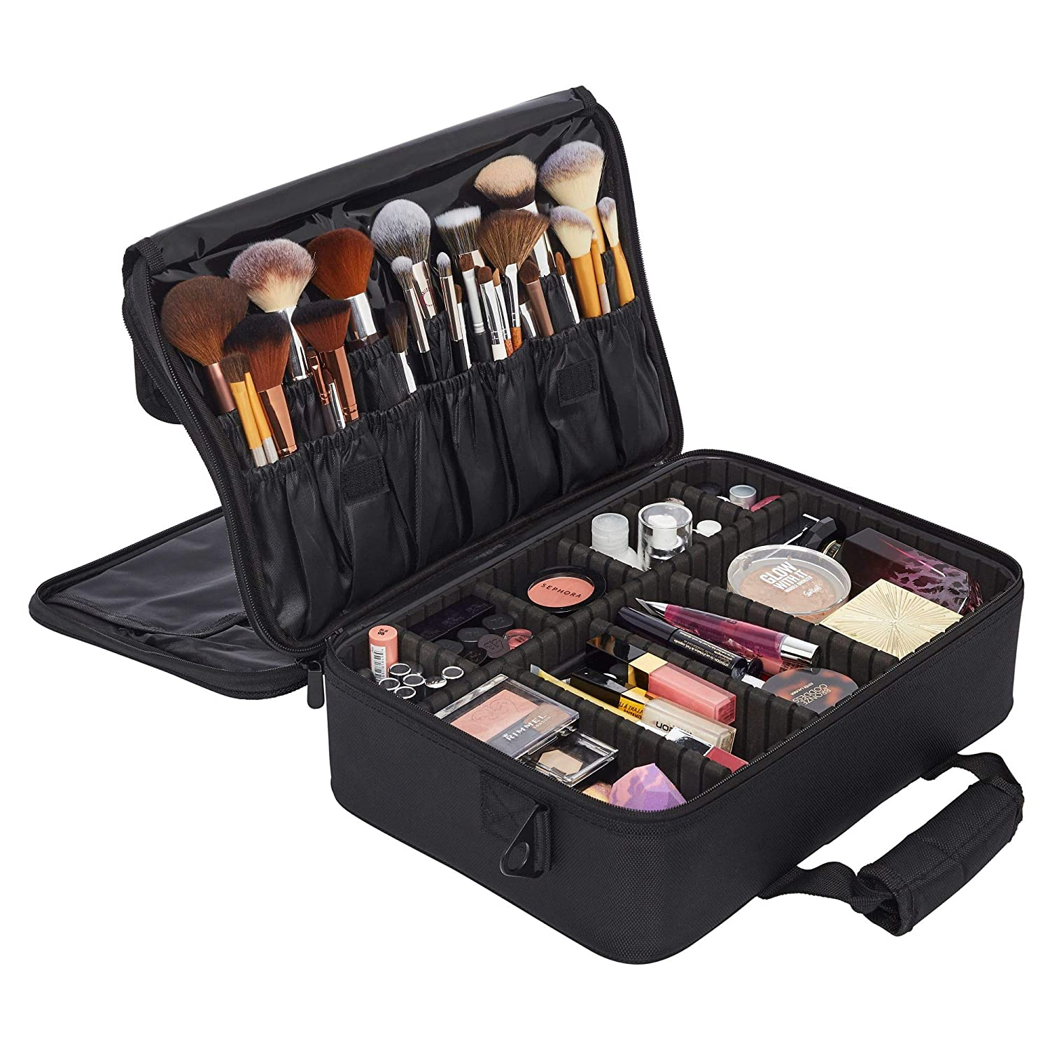 Ballage Large Travel Makeup Bag 3 Layer with Adjustable Dividers, Makeup Organizer Bag, Multipurpose Cosmetic Organizer, Overnight Pouch