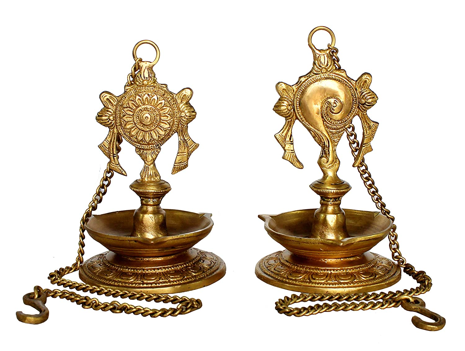 StonKraft Ideal Gift - Pair of Brass Hanging Diya, Oil Lamp, Lamp for Home and Office (Hanging Length 25.75) Brass-hanging-diya