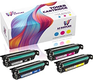 AZ Compatible Toner Cartridge Replacement for HP 647A-648A (CE260A, CE261A, CE262A, CE263A) 4 Pack Set - 1 Black / 1 Cyan / 1 Magenta / 1 Yellow