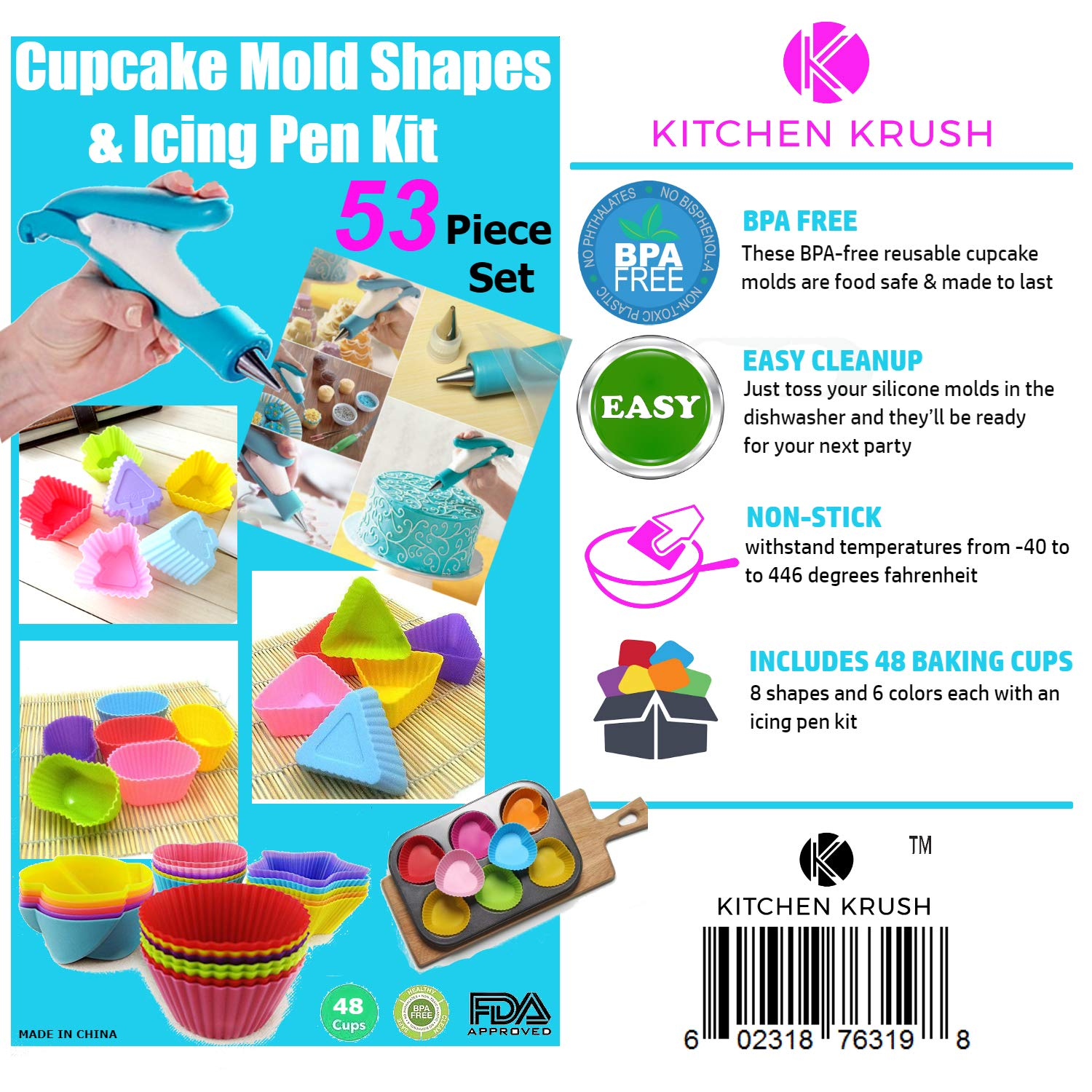 Cupcake Baking Cup Molds Bundle Easy Clean Pastry Liners 48 Nonstick Reusable Silicone Muffin Molds with Icing Pen Cupcake & Cake Decorating Pen Set by Kitchen Krush (Image #9)