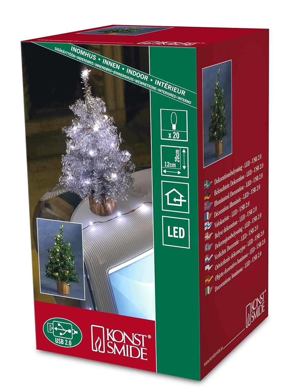 Konstsmide Indoor Tinsel Tree In Green 20 Leds Green
