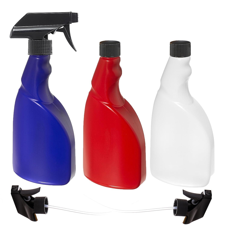 Nomara Organics(TM) - 3 botellas de espray de 500 ml sin BPA Un paquete de 3: azul, rojo y natural, sin BPA, botella de spray de plástico HDPE con 3 ...