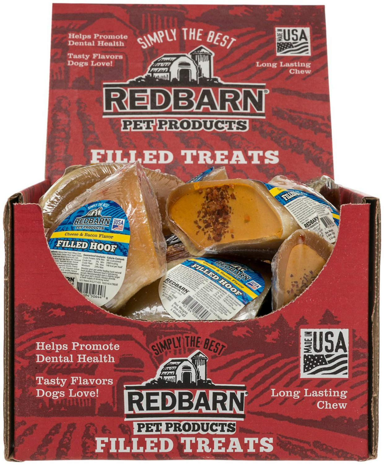 Red Barn Filled Hoof Dog Treat, Cheese n' Bacon (Pack of 25)   by REDBARN