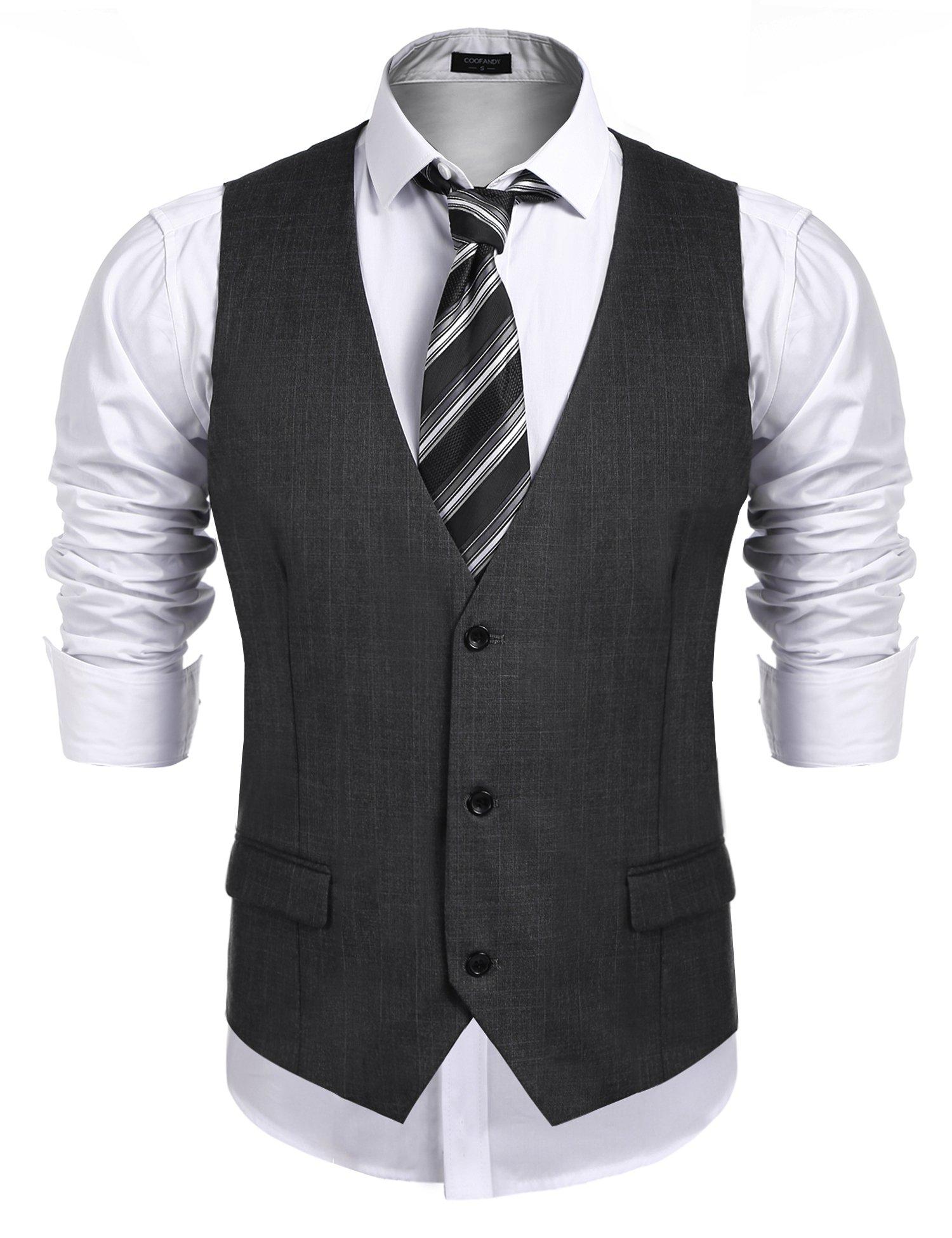 Coofandy Men's Business Suit Vest,Slim Fit Skinny Wedding Waistcoat Charcoal X-Large