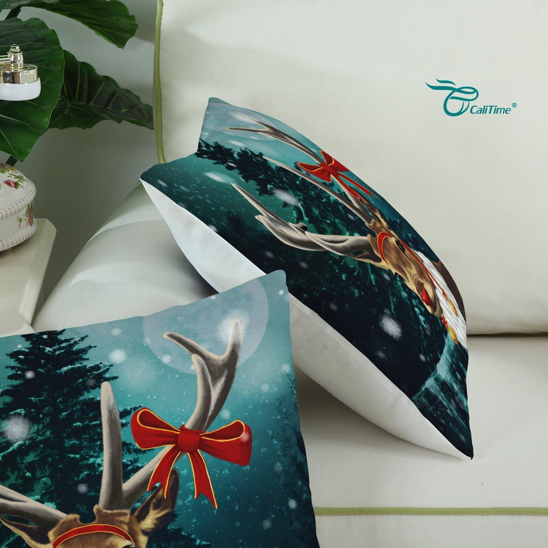 Set di 3/CaliTime federa per cuscino 45/x 45/cm 45 cm x 45 cm Natale Set Beige Cotone
