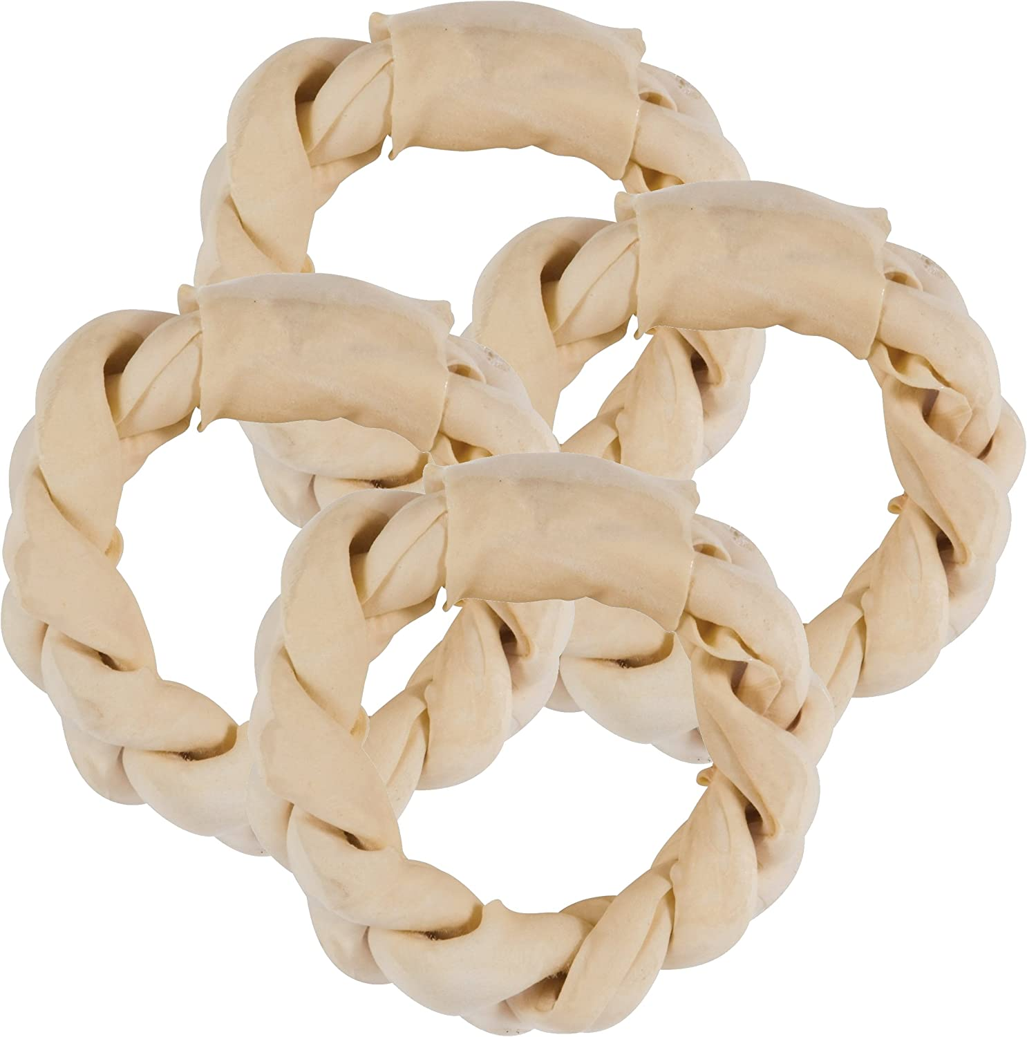 Chunky Chews 8 Braided Rawhide Rings for Large Dogs Natural, 4-Pack