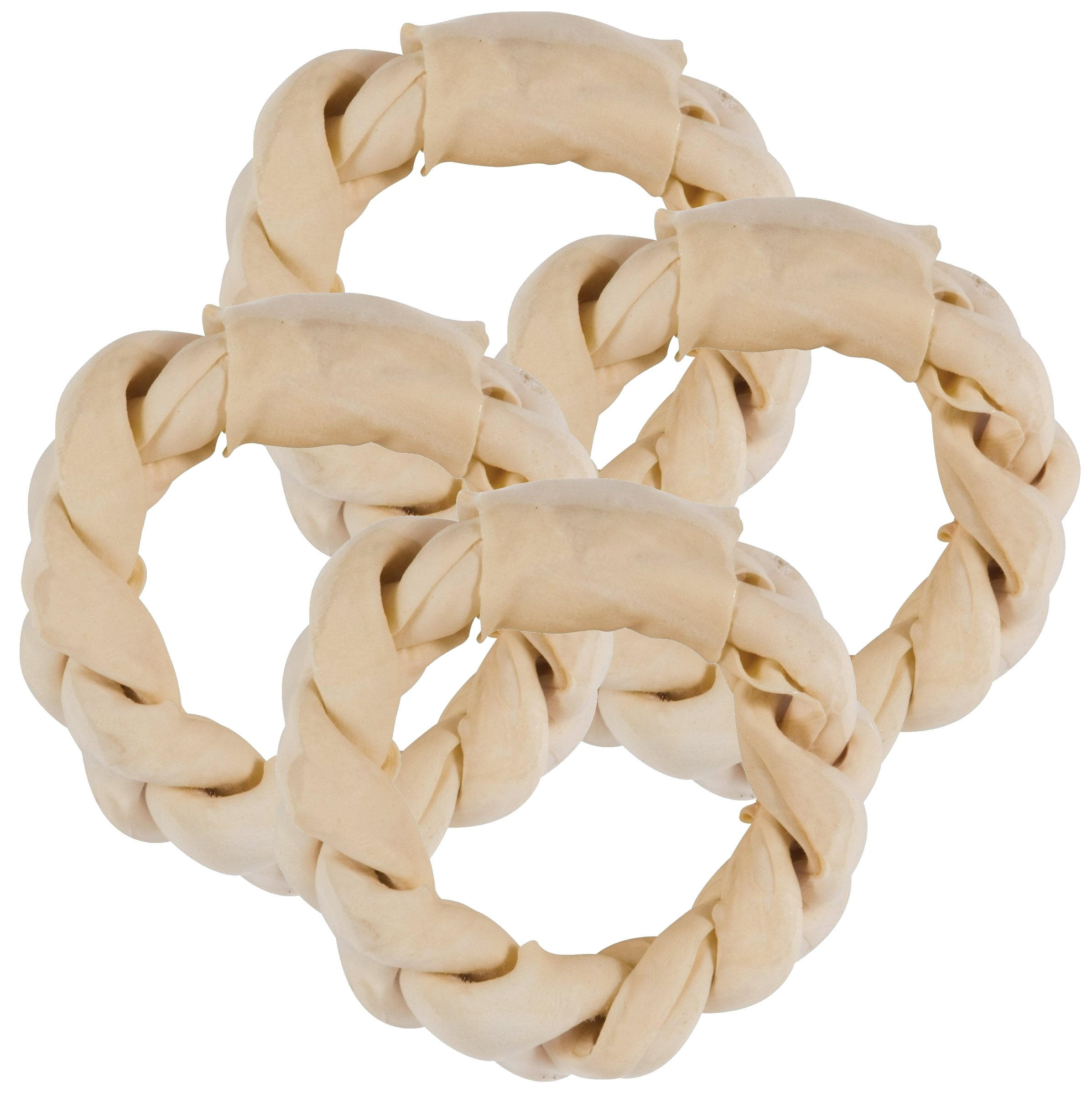 Balls 'n Bones 8'' Natural Braided Rawhide Ring for Large Dogs, Safety-Sealed, 4-Pack by Balls 'n Bones