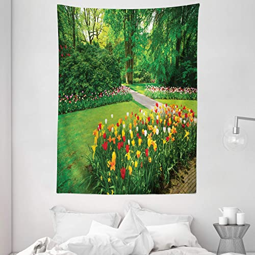 Ambesonne Garden Tapestry, Garden with Tulip Flowers and Trees Springtime in Keukenhof Netherlands Europe, Wall Hanging for Bedroom Living Room Dorm, 60 X 80 , Green and Red