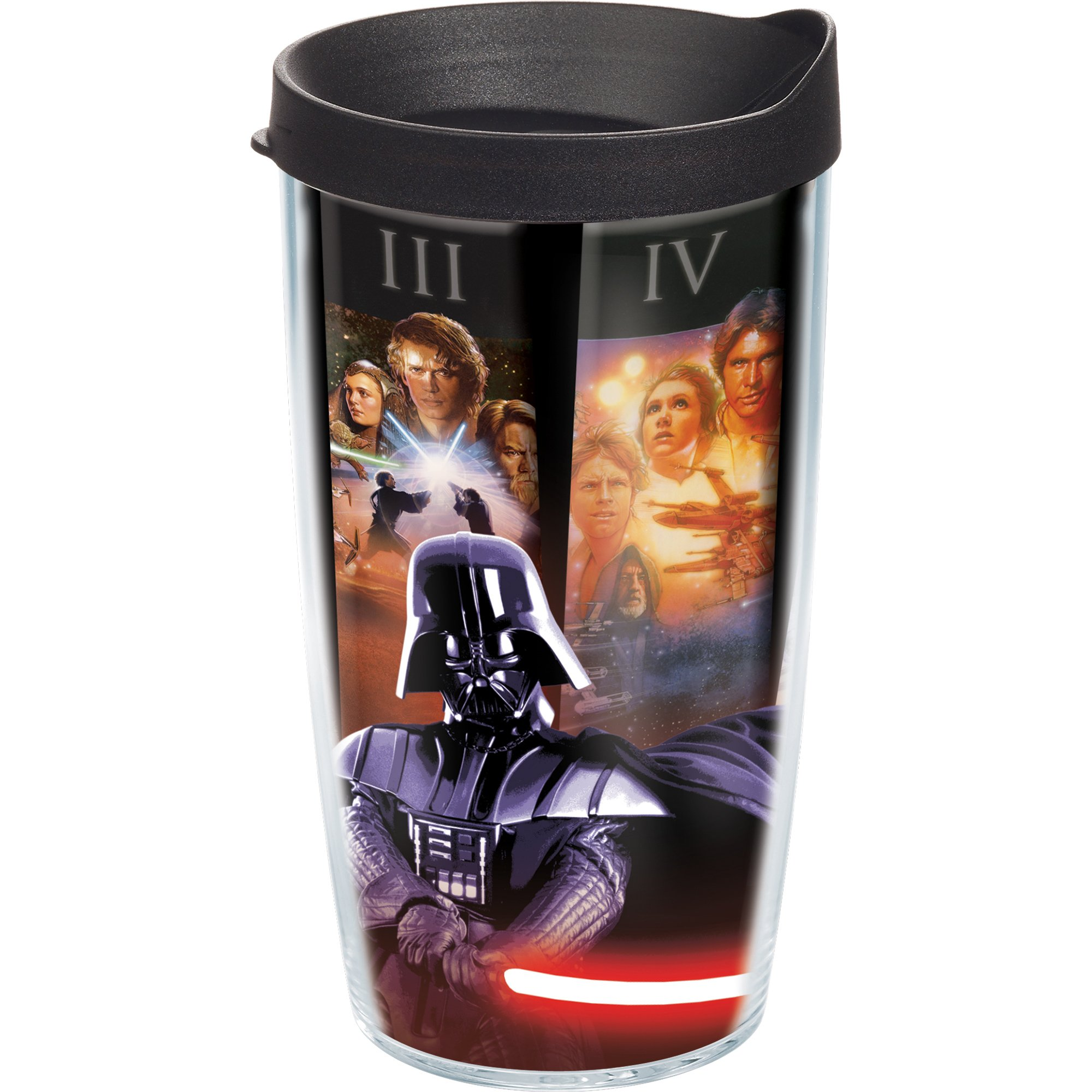 Tervis 1072645 Star Wars - All Posters Tumbler with Wrap and Black Lid 16oz, Clear