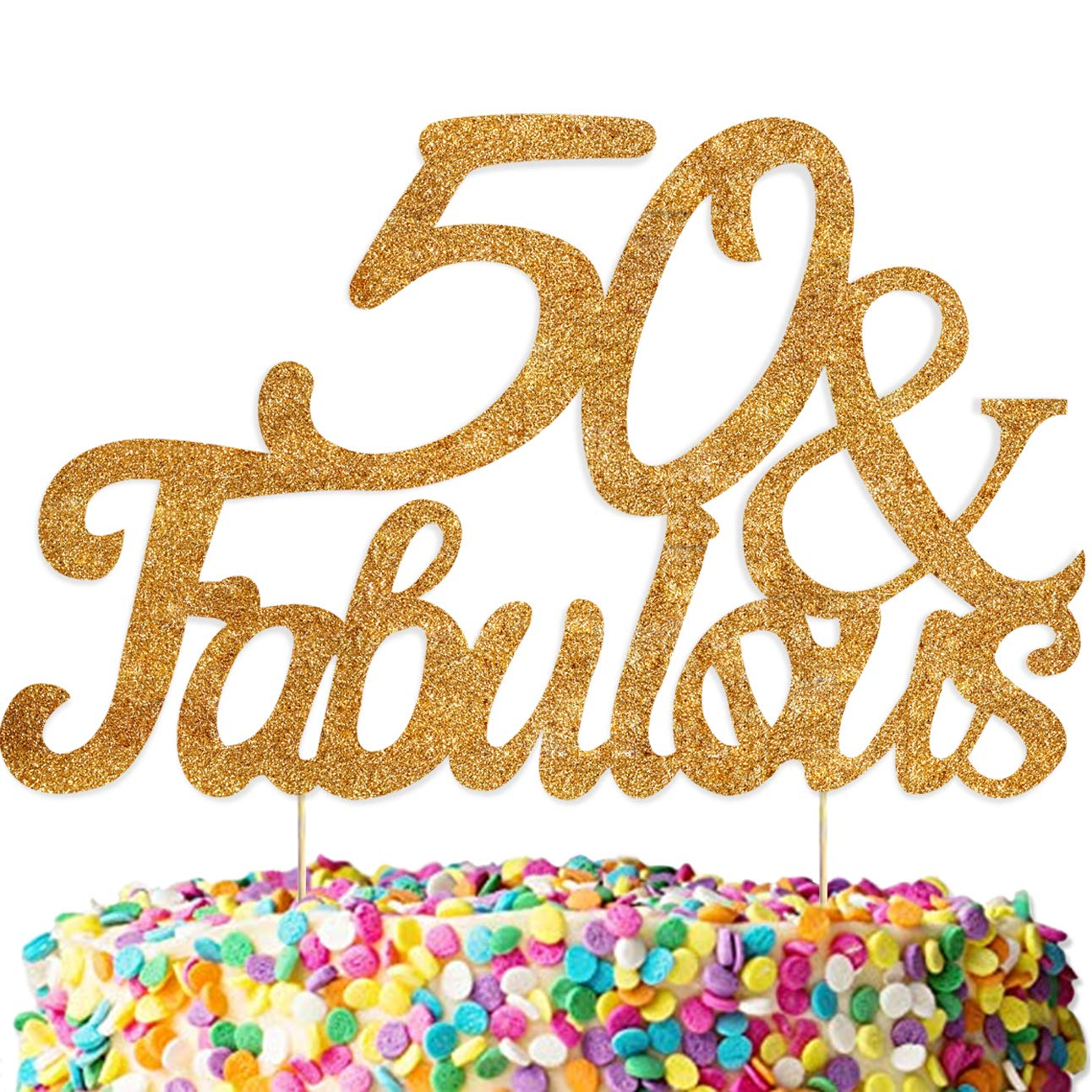 50 AND FABULOUS GOLD GLITTER STAND-UP CAKE TOPPER