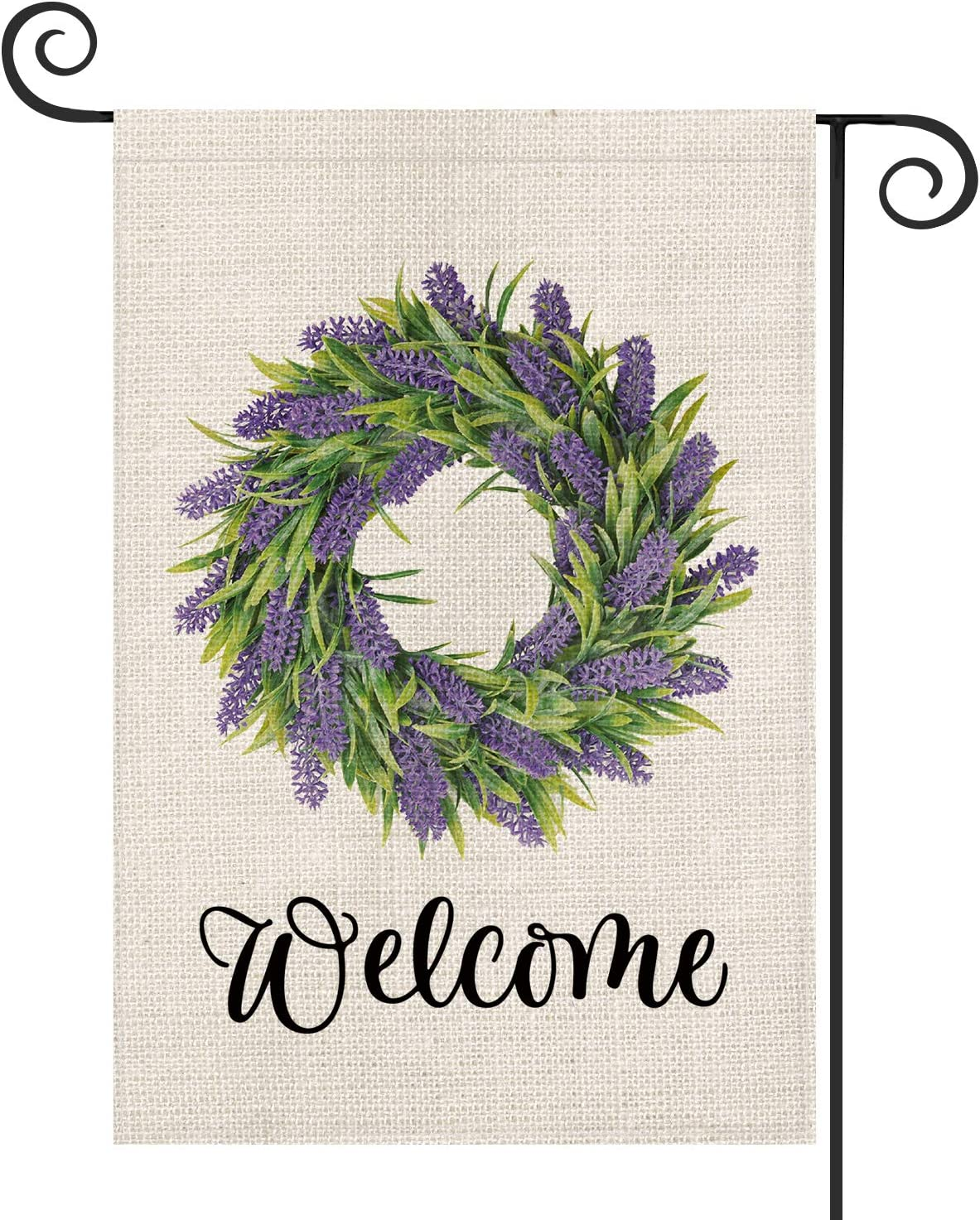 AVOIN Welcome Lavender Wreath Garden Flag Vertical Double Sized, Seasonal Spring Holiday Yard Outdoor Decoration 12.5 x 18 Inch
