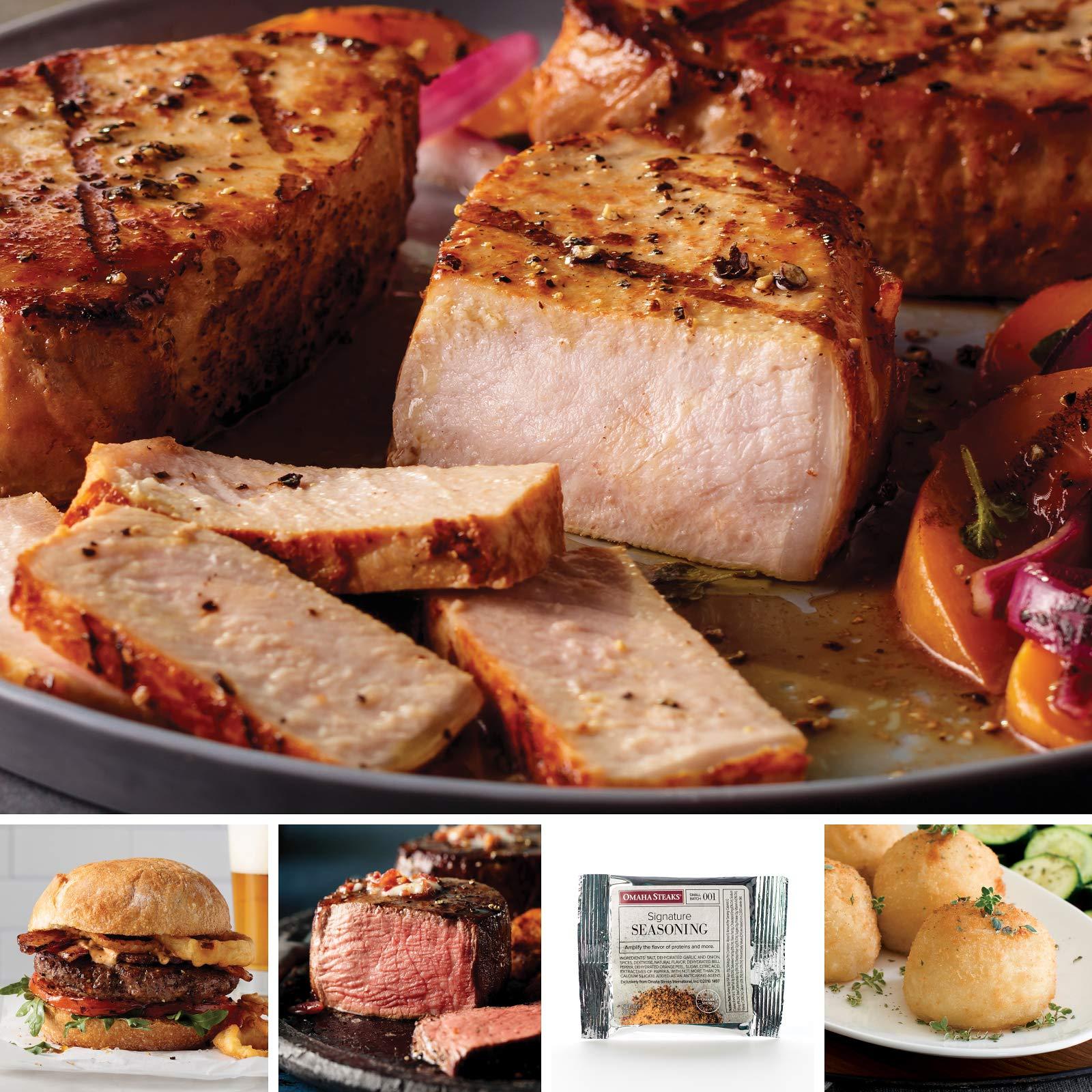Omaha Steaks Gourmet Gathering Gift Combo (13-Piece with Filet Mignons, Boneless Pork Chops, Steak Burgers, Potatoes Au Gratin, and Signature Seasoning)