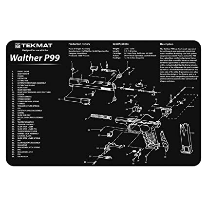 tekmat walter p99 cleaning mat 11 x 17 thick, durable, waterproof cutaway design handgun cleaning mat with parts diagram and instructions Walther PPK tekmat walter p99 cleaning mat 11 x 17 thick, durable, waterproof cutaway