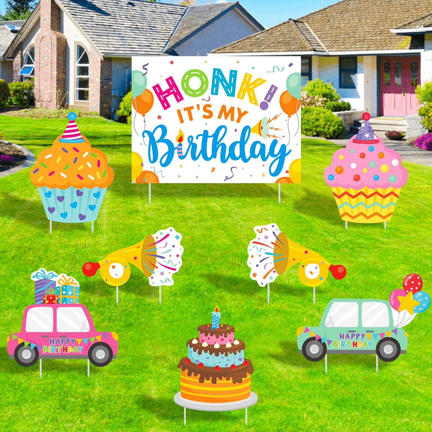 ADXCO 8 Pack Honk Its My Birthday Yard Sign Art Set Honk Its My Birthday Lawn Sign Honk Its My Birthday Large Signs Birthday Party Yard Signs with Stakes