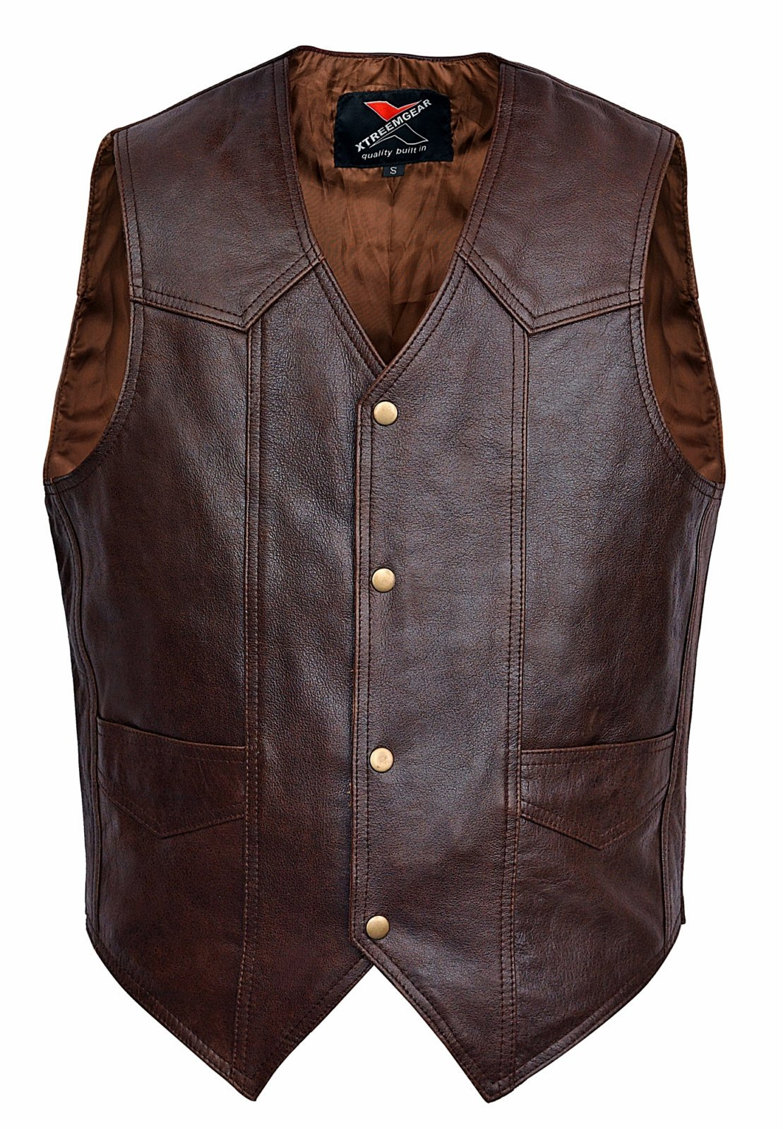 Men Motorcycle Leather Vest Classic Western Style Brown V118 (M)