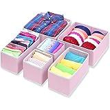 SimpleHouseware Foldable Cloth Storage Box Closet Dresser Drawer Divider Organizer Basket Bins for Underwear Bras, Pink (Set