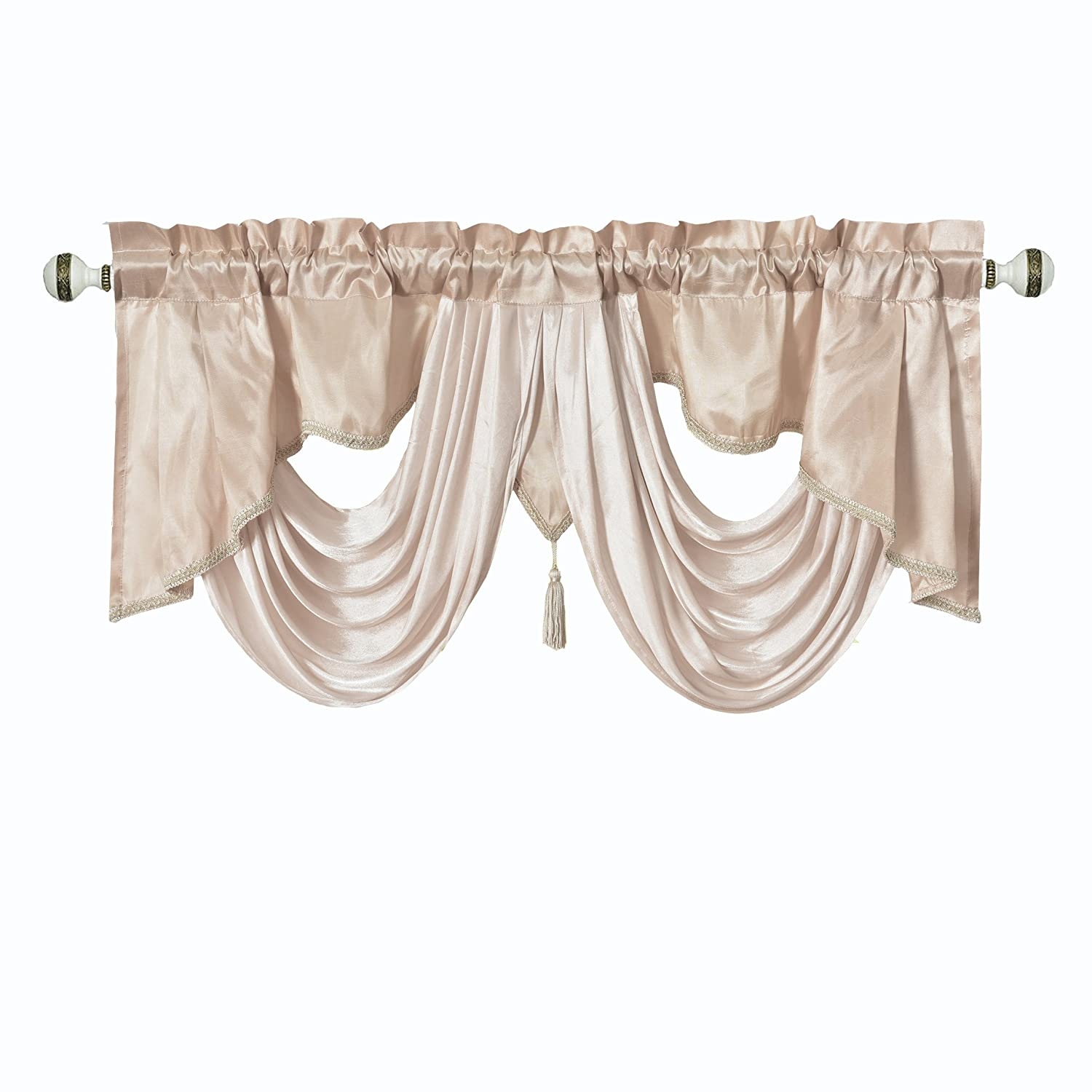 Valarie Fancy Window Valance. 54 x 18 inches. Taffeta Fabric with Soft Satin Swag. Add Some Royal luxruy Accent to Your Home. (Coffee)