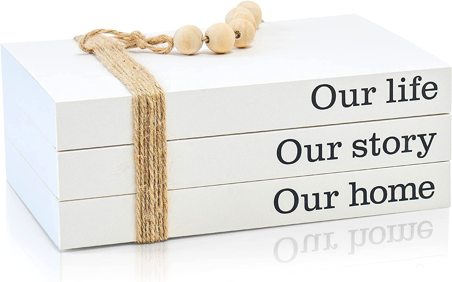 Decorative Books for Home Living Room Decor, Book Shelves, and Coffee Table Decorations with Rustic Jute Twine and Farmhouse Wooden Beads, Stackable Bundle, Set of 3