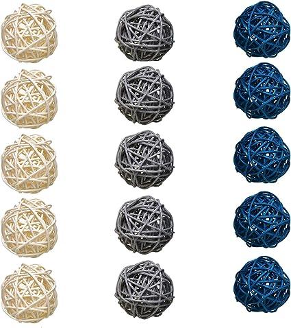 Set of 15 Grey gray Blue White Woven Rattan Wood Wicker Home Decorative Balls