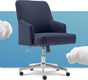 Amazon Com Serta Leighton Home Office Memory Foam Height Adjustable Desk Accent Chair With Chrome Finished Stainless Steel Base Twill Fabric Sanctuary Blue Furniture Decor
