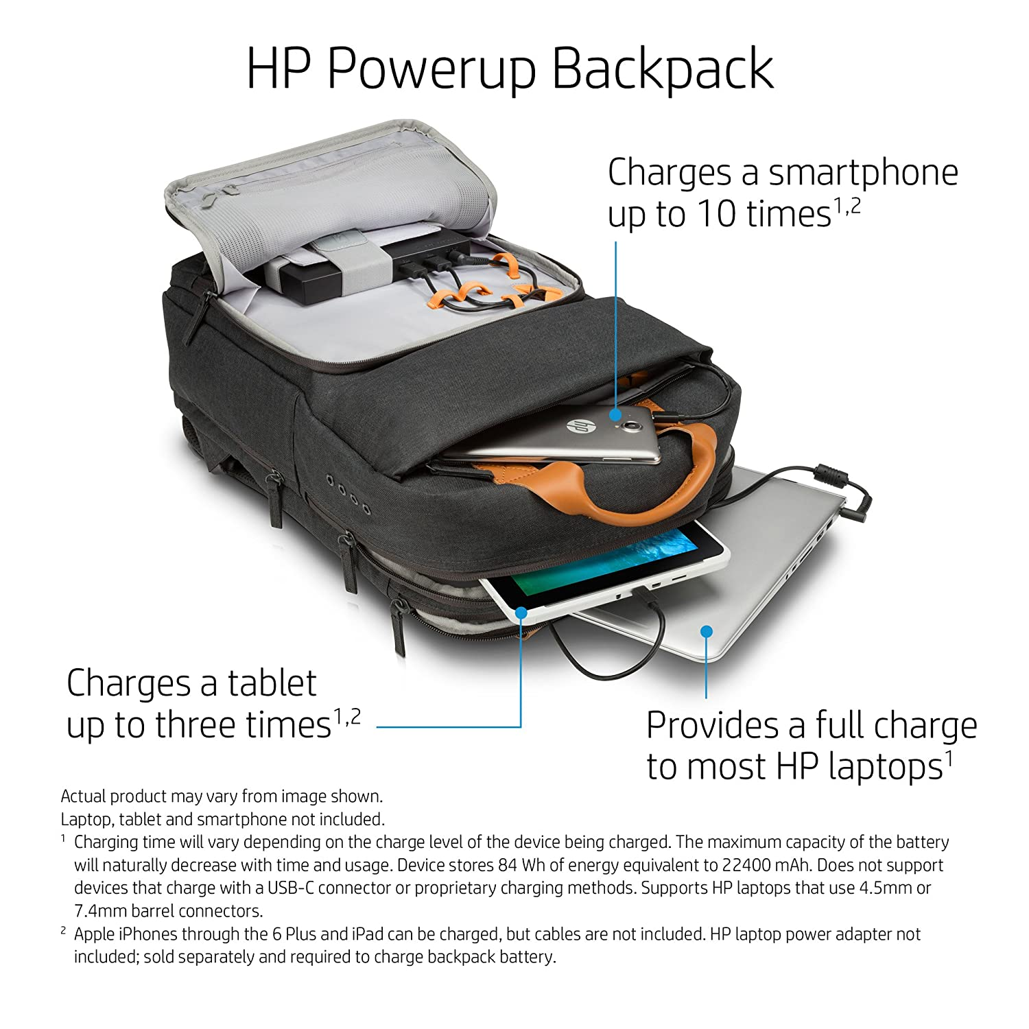Amazon HP W7Q03AA ABC 17 inch Laptop Canvas Backpack with mAh Battery Charging Pack Grey puters & Accessories